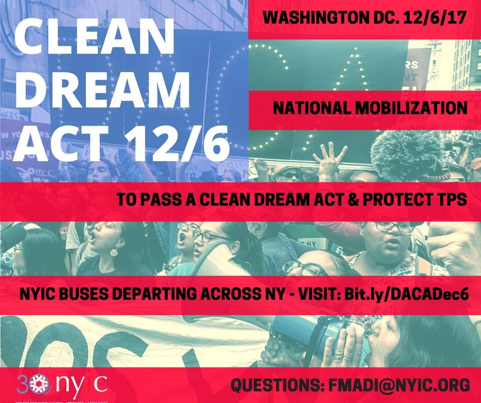 Join the Clean DREAM Act Rally on 12/6 in Washington DC!  – ¡Movilización para el DREAM Act y TPS en Washington DC 12/6!