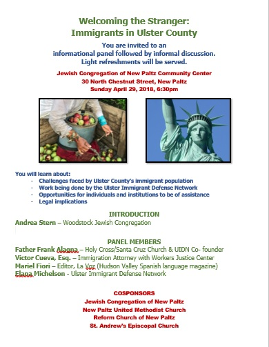 Welcoming the Stranger- Immigrants in Ulster County: An informational panel followed by informal discussion.